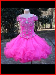 Wholesale Sleeveless Ruffle Shirt - Real Photo Cheap Girls Pageant Dresses 2017 Ball Gown Free Custom Made Beaded Top Organza Tiered Ruffles Elegant Kids Party Dress For Event