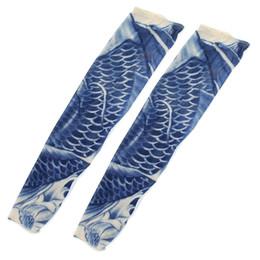 Wholesale Temporary Tattoos Men Sleeves - Wholesale- SYB 2016 NEW Fish Scale Print Fake Temporary Tattoo Cycling Arm Sleeves Pair Blue