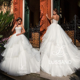 Wholesale Puffy White Corset Wedding Dresses - New Arrival Tiered Skirts Ball Gown Wedding Dresses Corset Backless 2018 Lussano Tulle Appliqued Sweehteart Church Bridal Gowns Puffy