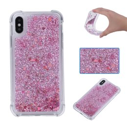 Wholesale Bling Rubber Iphone Cases - Luxury Bling Glitter Liquid Quicksand Shockproof Rubber TPU Gel Soft Phone Case for iphone X 8G 7G 6S PLUS 5S SE 5C Samsung S8 PLUS S7 EDGE