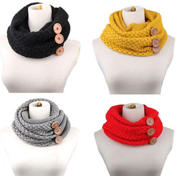 Wholesale Winter Scarf Free Shipping - PrettyBaby women neckerchief knitted button scarf winter neck gaiter winter knitting scarf wrap fashion knit warm ring scarf free shipping