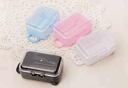 Wholesale Clear Plastic Favor - New Clear Mini Rolling Travel Suitcase Favor Box Wedding Favors Party Reception Candy Package Baby Shower Ideas