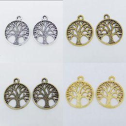 Wholesale Bead Jewerly - Tibetan Silver Tree of Life Charms Round Pendants Beads Jewerly Findings 20mm Pick Color