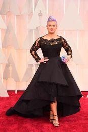 Wholesale Pink Kelly - Oscar Kelly Osbourne Celebrity Dress Long Sleeve Black Lace Applique High Low Red Carpet Evening Dresses A line Prom Dress