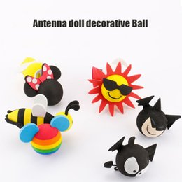 Wholesale Aerial Film - Exterior Accessories Car Stickers 2pcs MINI Antenna Doll Toppers exterior aerial doll car aerial decoration doll micky mouse ball