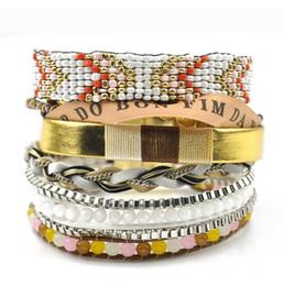 Bracelets de charme mexicain en Ligne-Nouvelles femmes bohème bracelets perles tressé charme multi-couches plage charme bracelets mexicains pour la livraison gratuite en gros
