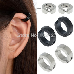 Wholesale Jewelry Ear Cuff Hoop Earring - Fashion Circle Hoop Non-Piercing Clip-on Earrings Vintage Ear Cuff Mens Stainless Steel Earring Wholesales Jewelry