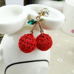 Wholesale Big Dust Plug - Wholesale-Unique Big Red Knitting Wool Cherry Charm Phone Dust Proof Plug Cell Phone Jewelry SP043