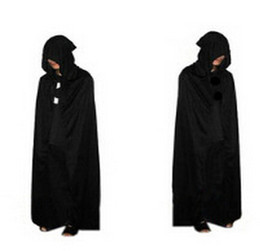 Wholesale Black Cosplay Cloak - Hot Sale Cosplay Capes Black Halloween Costume Theater Prop Hoody Cloak Long Tippet Cape 100 p