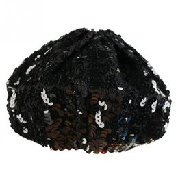 Wholesale Sequin Hats Caps - Wholesale-New Women Lady Stretch Shining Sequin Beret Hat Party Stage Beanies Caps Gold Black Red