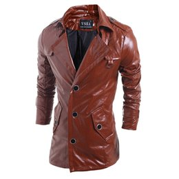 Wholesale Leather Men Coat High Neck - New High Quality Mens Black Brown Leather Trench Coat Single Breasted Punk Leather Jacket for Men Turn-down Collar Jacket Harley