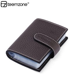 Wholesale Car Rfid Card - allets Holders Card ID Holders teemzone Fashion Women's Mens Genuine Leather Hasp Credit Business Card Case Holder RFID blocking Car...