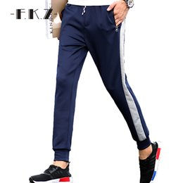 Wholesale Woolen Clothes Design - Wholesale- FKZ New Design Men Pants Clothing Sweatpants Stripe Joggers Drawsting Smooth Flat Straight Full Length Size M-5XL ClothingGNP006