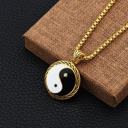 Wholesale Tai Gold - Hiphop stainless steel Tai chi pendant necklace hip hop necklaces with chain jewelry for men or women item number NE832