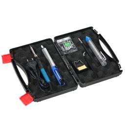 v tipps Rabatt 11 pcs 60 Watt 220 V Thermoregulator Elektrische lötkolben hand reparatur Schweißwerkzeug Kit 5 stücke Lötspitze + Entlötpumpe + Pinzette
