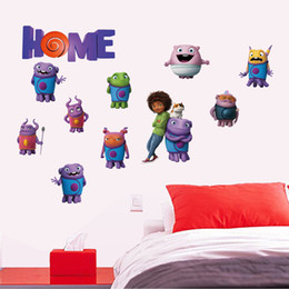 Wholesale Cheap Home Decor Wholesale - Cheap 50*70cm Cartoon Crazy alien Wall stickers home decor removable pvc Kids Room Decal wall art decals Wallpaper Halloween Christmas gift