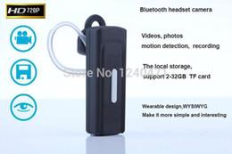 Wholesale Headset Hidden Camera - 1pcs 720P HD Mini usb flash earphone Camera music Bluetooth Headset hidden Video Camera DVR K8 MINI DV spy usb disk cameras