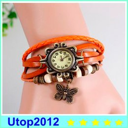 Wholesale Dress Shape Charm - 15% Mix Colors Cow Leather Women Watches Leather Butterfly Charm Watches Ladies Dress Vintage Weave Wrap Wrist Watch