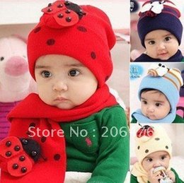 Wholesale New Beetle Caps - Wholesale-10sets lot NEW Toddler baby girl and boy scarf ladybird beanie hat beetle cap Free shipping