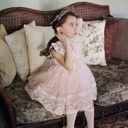 Wholesale Korean Children Party Dress - Princess Dresses Korean Flower Girl Dress Lace Dresses Party Dress 2016 Summer Tulle Dress Children Clothes Kids Clothing Lovekiss C22582