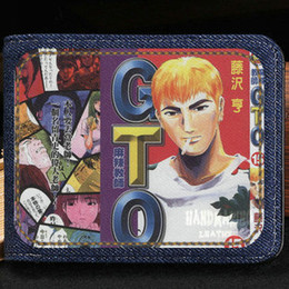 Wholesale Bags Teachers - Eikichi Onizuka wallet Gto teacher anime purse Cartoon blue short cash note case Money notecase Leather burse bag Card holders
