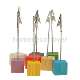 Wholesale Name Card Stand Holder - Wholesale- Hot Sale 8pcs Colorful Place Card Holders Wedding Restaurants Cafes Table Number Name Stand Clip