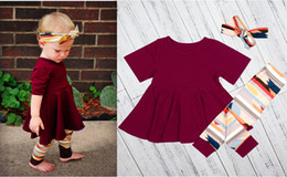 Wholesale Hot Dress Pants - Hot Boutique baby Girl 3 pcs set burgundy winter dress & headband & tight pants sz80-sz120 for kids 12M- 5 years old