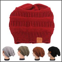 2019 chapeau de laine noir oreille de chat Nouveau Womens Chanvre Fleurs Tricot Slouchy Beanie CC Cap Chapeau Unisexe Chapeau D'hiver Ski Slouchy Cap