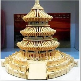 Wholesale Temple Heaven Puzzle - Wholesale-Free shipping! 3D wood puzzle wooden model miniature doll house model toy miniature chinese Beijing Temple of Heaven, 1set