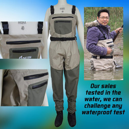 Wholesale Flat Front Pants - High quality Waterproof chest fishing wader breathable fishing wader pants Neoprene Socks with front pocket and stocking foot