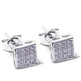 Wholesale Rhodium Stud Earrings - Square shape new stud earings pave with cubic zirconia crystal Earings Women Earrings new platinum plate