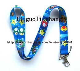 Wholesale Mario Charm Cell - Wholesale-Free shipping 10pcs Mario Cell Phone MP3 Strap NECK Lanyard Charm blue
