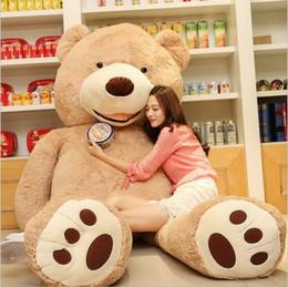 "Wholesale American Giant - 93"" inch Soft Giant Teddy Bear PP Cotton Huge Stuffed American Bear Brown Snuggle Bear Plush Chrismas Gift"