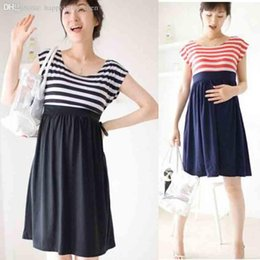 Wholesale Pregnant Women Lactating - Wholesale-2015 Nursing Pregnant Women Maternity Dress Maternity Clothes Breastfeeding Lactating Stripe Dress For Pregnant Women Free Ship