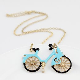 Wholesale Bicycles Vintage Style - Vintage Style Gold-Color Blue Enamel Bicycle Pendant Necklace for Women And Chrildren's Jewelry Maxyum Wholesale