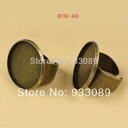 Wholesale Basis Rings - Wholesale-Adjustable Flat Rings Pad Bases Blanks Glue On 25mm cabochon setting rings Free Shipping 4pcs 58-400