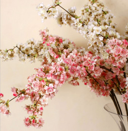 Wholesale 5 Romantic Artificial Flowers Branches of Peach Cherry Blossom Silk Flower Home Wedding Decoration Inch cm