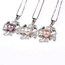 Wholesale Oriental Pendants - Oriental Pearl Natural Freshwater Pearl Necklace Sterling Silver Pendant Jewelry zircon inlaid flowers exported
