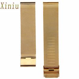 Venta al por mayor- Accesorios de reloj Oro Negro Moda milanesa Acero inoxidable Reloj de pulsera de 18 mm Correa Correas de reloj Correa de reloj desde fabricantes