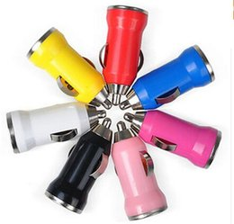 Wholesale Portable Charger Dhl - For Iphone6 USB Car Charger Colorful Bullet Mini Car Charge Portable Charger Universal Adapter For Iphone 5 5S 200 Pieces DHL Free Shipping