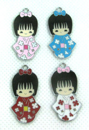 Wholesale New Japanese Oriental Kokeshi Doll Girl Jewelry Making Metal Charm pendants Party Gifts