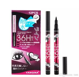 Wholesale Eyeliner Pencil Sets - 12pcs set YANQINA 36H Makeup Eyeliner Pencil Waterproof Black Eyeliner Pen No Blooming Precision Liquid Eye liner 100Set