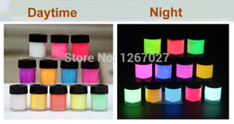 Wholesale Glowing Uv - Newest GLOW in the DARK Daytime Visible UV Re-active Paint 10ml neon pigment drawing Halloween paint luminous 1 set 12 colors