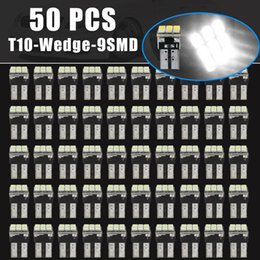 Wholesale Super Led W5w - 50x Car Auto 9-SMD LED Interior Light T10 Wedge Bulb Super White Lamp W5W 194 168 2825 158 CLT_0C5