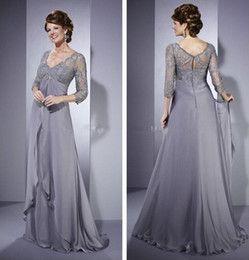 Wholesale Empire Waist Sleeves - Silver Empire Waist Mother of the Bride Dresses Vintage V Neck Lace 3 4 Long Sleeve Ruffled Chiffon Long Formal Dresses for Women