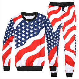 Wholesale Black Fashion Men Suit - Men Women 3D American Flag Print Sport Suits Hip Hop Emoji O-Neck Sweatshirts+Jogger Pants Tracksuit Running Jogging Hoodies Set