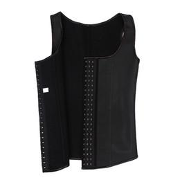 Wholesale Male Latex Rubber - Rubber Latex Waist Trainer Vest for Men Black Waist Cincher Firm Tummy Slimming Male Waist Cincher Corset Men Waist Belly Shaper style