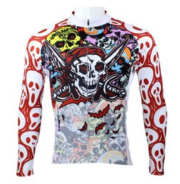 Wholesale Cool Outdoor Clothing - new arrival Men Sportswear Breathable Mesh Outdoor Cycling Jersey Cool Skull Long Sleeved Ciclismo Bike Clothes