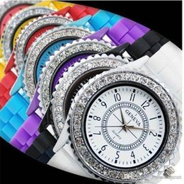 Wholesale Geneva Silicone Jelly Gel Quartz - Hot sale Geneva Fashion Crystal Jelly Gel Silicon Girl candy color watch Women's Quartz Wrist Watch free shipping