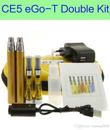 Wholesale Ego T Double Starter Kits - CE5 eGo-T Double Zipper Case Kit - DHL e-cigs CE5 starter double kits with ce5 atomizer and 650 900 1100mAh ego battery